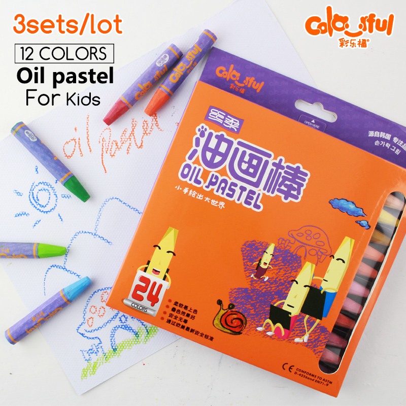 3 sets/lot 24 Colors Oil Pastels Drawing Brush Oil Painting Stick Soft Crayon for Children Artist Art School Supplies(China (Mainland))