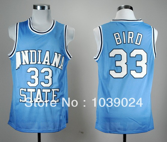 Indiana State Sycamores Low Price#33 Larry Bird Jersey Blue Hardwood Legends Stitched New College Basketball Jerseys 100% Polyes(China (Mainland))