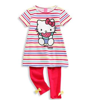 Baby Girl Set 2016 Spring Summer Girls cartoon stripes sets +shirt+pants suit hello kitty children clothing sets outwear