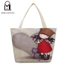 2016 Fashion Girl Printed Canvas Tote Female Casual Beach Bag Large Capacity Women Single Shopping Bag Daily Use Canvas Handbags(China (Mainland))