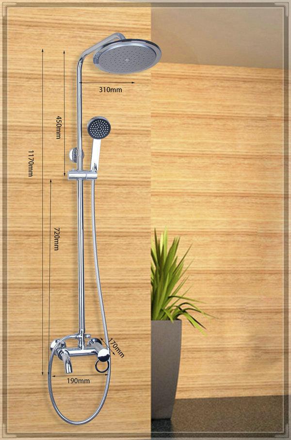 """Yanksmart DS-53000B Braass 8"""" Rainfall Shower head +Arm + Hand Spray+Valve +Spout Bath Shower Faucet Set water bathroom faucet(China (Mainland))"""