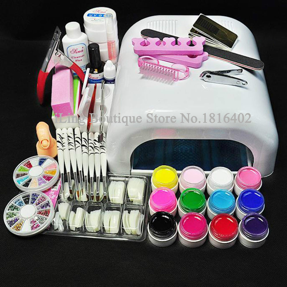 professional full set uv gel kit nail art set 36w nail. Black Bedroom Furniture Sets. Home Design Ideas