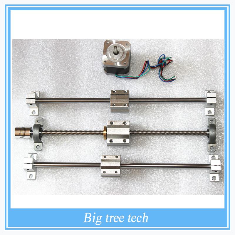 Sliding Table parts RepRap 3D Printer THSL-300-8D T-type T8 Lead Screw +Copper Nut +Nema17 Stepper Motor 42+8MM Axis+SC8UU(China (Mainland))