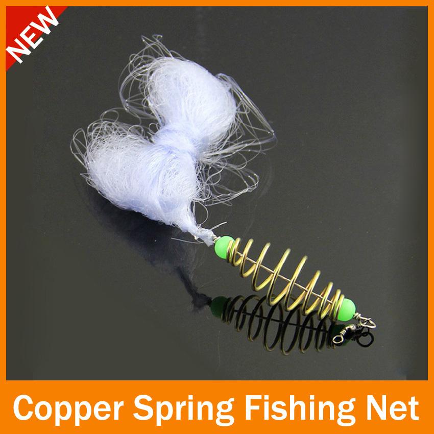 HOTT SELL 2 pcs/lot fishing net New Design Copper Spring Shoal Fishing Net Netting Luminous beads Swivel fishing tackle box(China (Mainland))