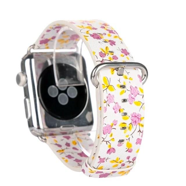 Новая кожа Цветочные узоры Мода полный натуральной кожи Ремешок Для Часов Классический Пряжка Ремешок для Apple, Ремешок Для Часов 38 мм/42 мм