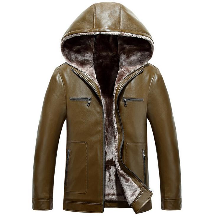 Sheepskin Leather Outwear Jacket Fashion Hooded Coat  Leather Jacket Men Thick Winter Jacket Men Fur Coat  Mens Leather Jackets
