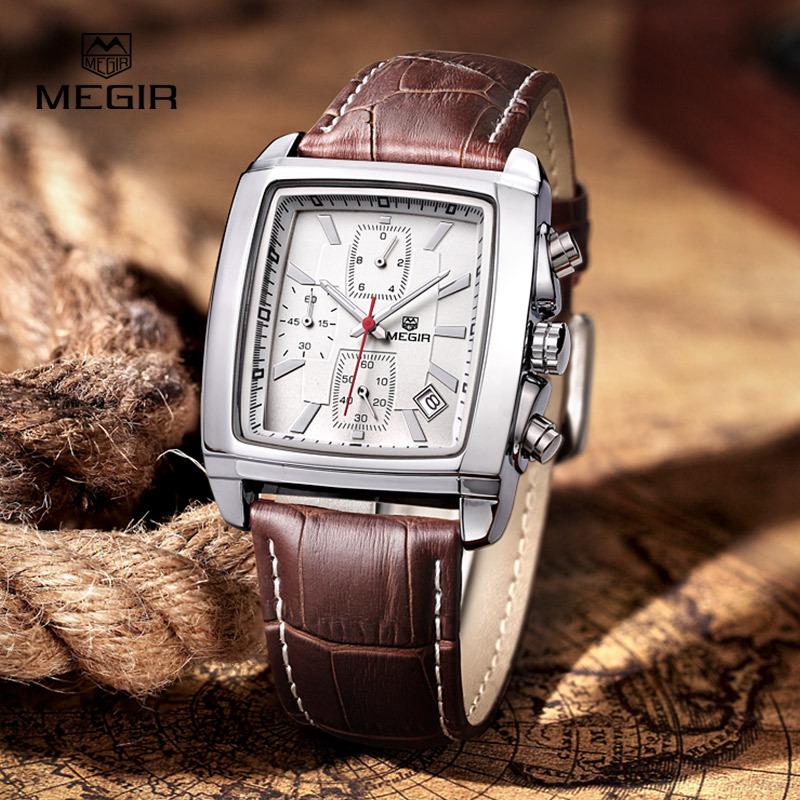 Гаджет  megir fashion casual military chronograph quartz watch men luxury waterproof analog leather wrist watch man free shipping 2028 None Часы