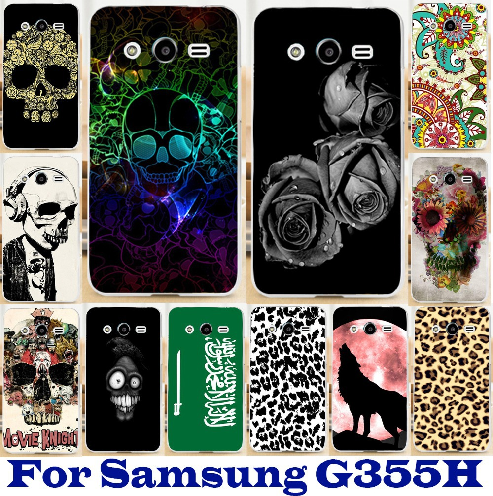freeshipping 1pc/lot case hard Back cover Skin Shell hood for Samsung Galaxy Core 2 G355H beautiful skull mobile phone case(China (Mainland))