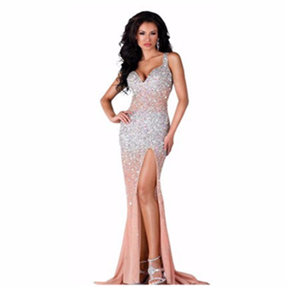 Custom made Sweetheart Neck Sheer Lace Long Sleeve Prom. Custom made  Sweetheart. 2015 High Quality Crystal Beaded Evening Dress Sleeveless 8016f50e623f