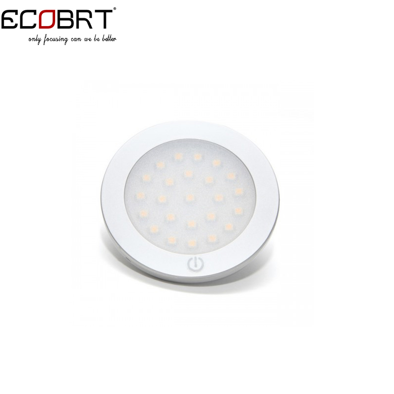 New 12V DC 2Watts LED Flat Round Under Cabinet Lights Touch On/Off Furniture Showcase sensor Lighting Lamps DC12V 10pcs/lot(China (Mainland))