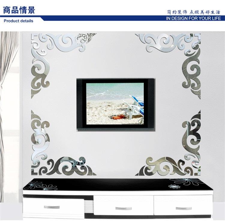 Verwenden Von Spiegeln Im Inneren Des Wohnzimmers Um Den: Blumen Weinreben Eckig Dekoration Acryl Muster Spiegel