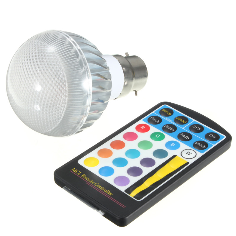New Arrival 5W B22 E27 E14 16 Color Change Dimmable RGB LED Global Light Bulb Lamp AC85-265V With IR Remote Control<br><br>Aliexpress