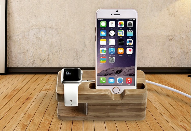 iwatch bamboo charging holder iphone 6 charging holder