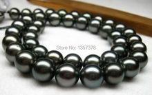 "huij 002841  HUGE 18""13MM NATURAL TAHITIAN PERFECT GENUINE BLACK PEARL NECKLACE 14K AAA(China (Mainland))"