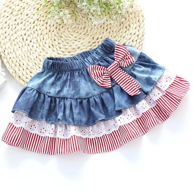 2016 полоса персонализированные детские юбки с бантом кружева юбки девочка