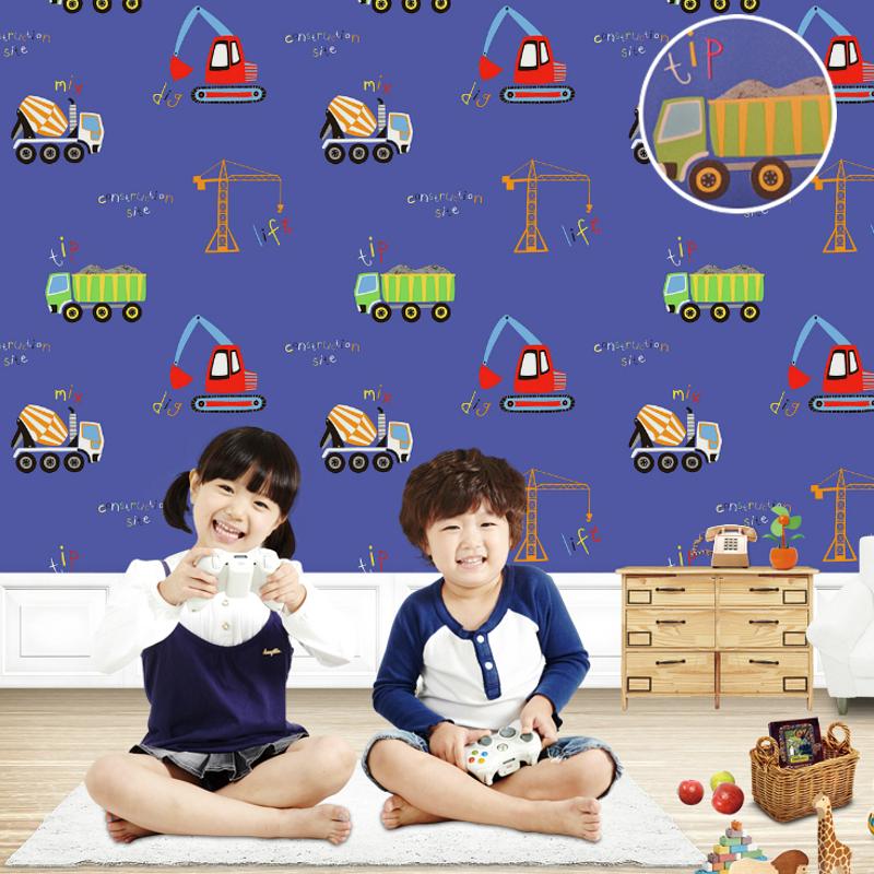 Blue Vehicle cars train transport construction themed kids room wallpaper Kindergarten(China (Mainland))