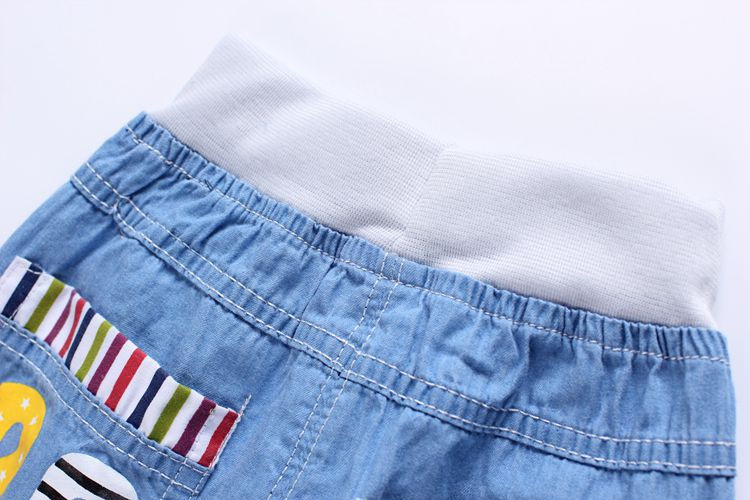 2016 New Fashion Kids Jeans Elastic Waist Straight Cartoon Jeans Denim Seventh Pants Retail Boy Jeans For Kids 2-5 Y WB141 (6)