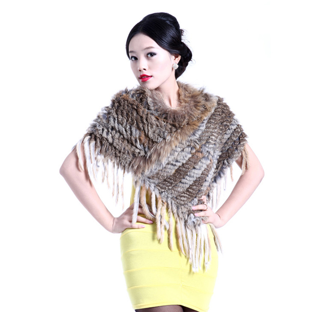 2016 Fashion Hot Sell Handmade Knitted women Rabbit Fur Short Style Poncho Shawl Trimming Tassels Jacket Coats Vest QD5146
