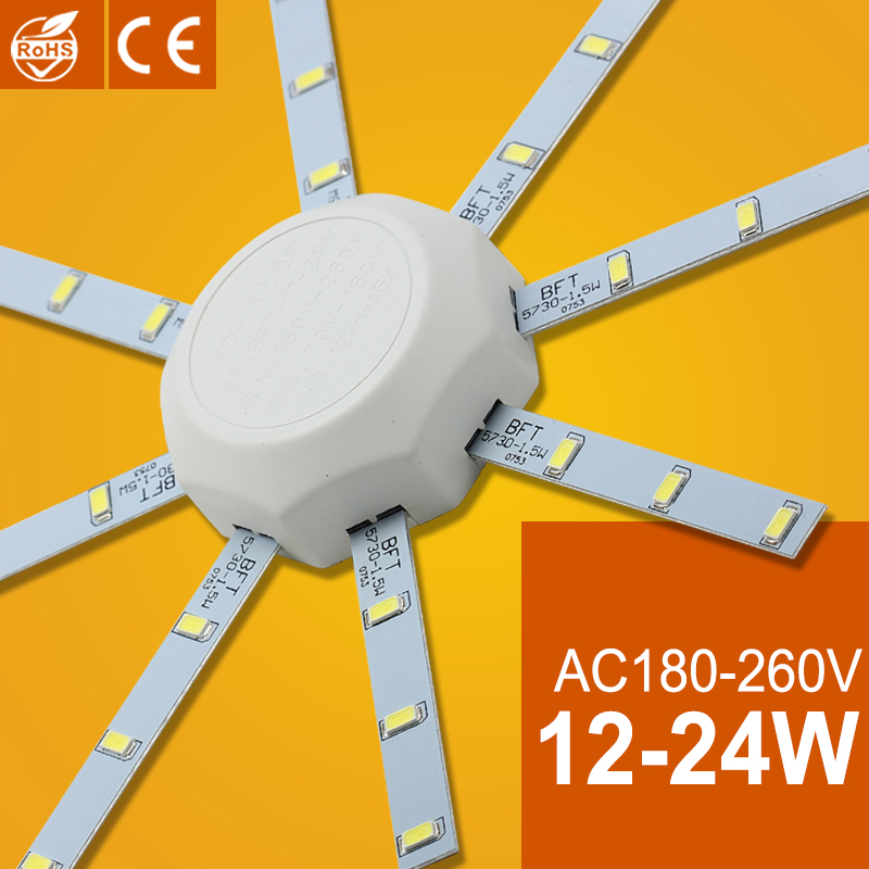 LED Light Board 220V LED Lamp Board LED Ceiling Lamp 5730SMD 12W/16W/24W High Bright White Octopus Round Kitchen Bedroom Light(China (Mainland))