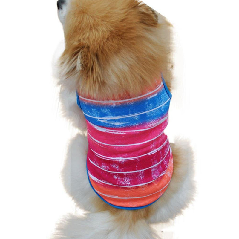 1 pcs Small Dog Shirt Fashion Beautiful Pet Puppy Clothes Funny Cotton Costumes Pet Dog Cat Cute Stripe T Shirt(China (Mainland))