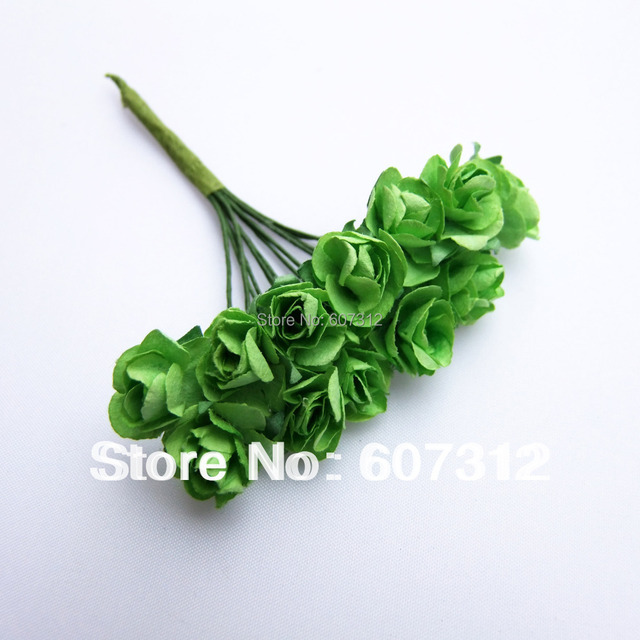 144 / lot Green Mulberry Paper Rose Flowers Bouquet/wire stem/ Scrapbooking flowers Free shipping PA-19