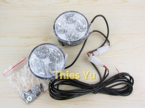 2pcs White 4 LED Round Fog Light Lamp 12V Car DRL Daytime Driving Bulb Free Shipping(China (Mainland))