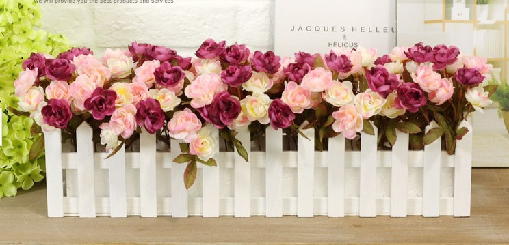 white wooden fence 50cm fake flowers set artificial arrangement home wedding decoration - Sweet Fashion Home store