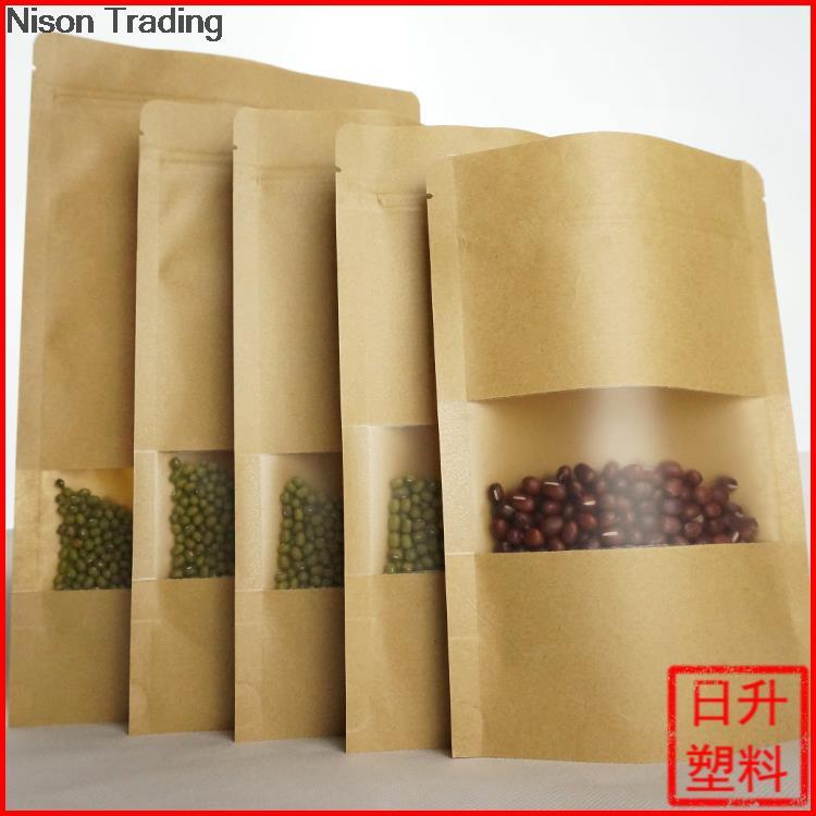 15*22cm stand up Kraft paper bag with window ziplock bag valve bag tea bag(China (Mainland))