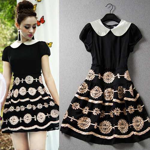 Top Quality European Summer Palace temperament doll collar short sleeve slim dress 51510305 1435281387(China (Mainland))