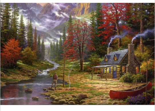 The Good Life by Thomas Kinkade Canvas Prints Realistic Painting Printed On Canvas 12 by 16 inch, 12 by 18 inch, 16 by 20 inch(China (Mainland))