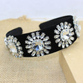 2016 hot Europe and America pure manual super luxury shine gem crystal velvet wide Headband Fashion