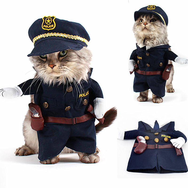 New Products For Pet Police Suit Coat And Hat Dog Costume Clothes Funny Cats Costumes For Small Animals High Quality(China (Mainland))