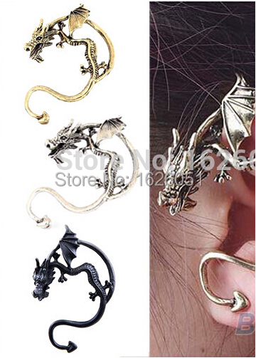 Retro Vintage Silver Bronze Punk Temptation Metal Dragon Bite Ear Cuff Clip Wrap Earring Fashion Jewelry for Valentine's Gifts(China (Mainland))
