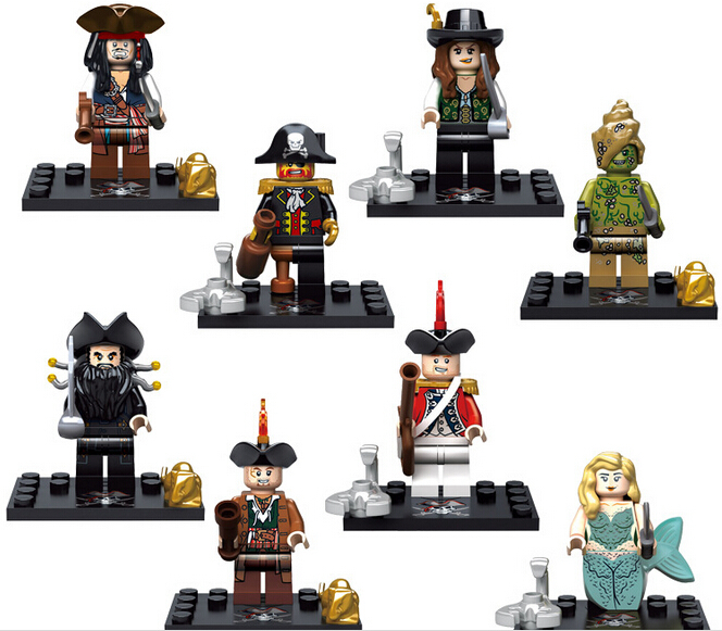 Гаджет  2015 NEW hot 8pcs/set Pirates of the Caribbean 5 Action Figures Building with card Blocks Bricks Compatible toys No box ! None Игрушки и Хобби
