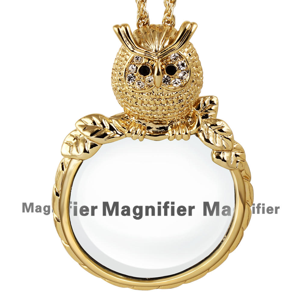 New Concept Owl Shape Cute Girls Nice Design Gold Plated Chain Necklaces With 2X Magnifying Glass Pendant Daily Reading Purpose(China (Mainland))