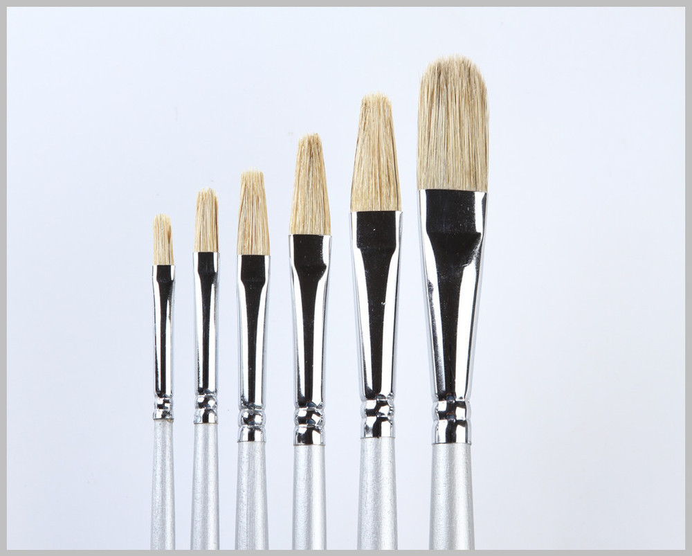 2018 wholesale hog hair brush handmade oil painting brush natural