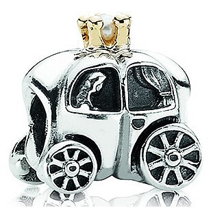 New 2014 Real Gold Crown Royal Car Carriage Charms Antique 925 Sterling Silver Pearl Charm Women Diy Bracelets Jewelry CE393(China (Mainland))