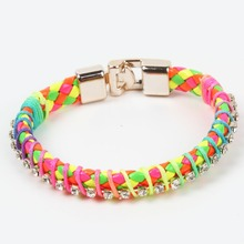New Fashion 2016 Fine Jewelry Colorful Single-Row Drill Weave Bracelets PU Leather Rhinestone Hot Sale Women Casual Bangles(China (Mainland))