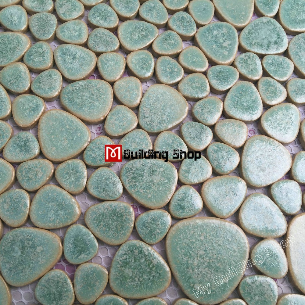 Glazed Porcelain Tile Glass Pebble Mosaic Tile Ppmt044 Pebble Flooring Tiles Porcelain Pebble