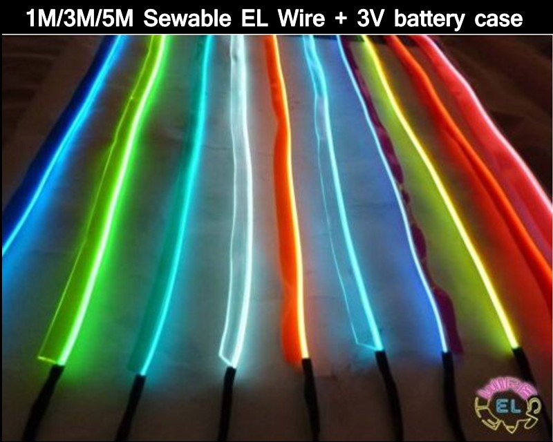 1m 3m 5m sewable el wire tron led neon light tape glow wire easy sew tag strip tube 3v battery. Black Bedroom Furniture Sets. Home Design Ideas