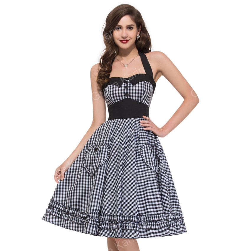 Fashion Women's Classic Vintage Plaid Swing Retro Cotton Casual Printed party dresses Plus Size 50s Rockabilly Pinup Dress 6091 - Magic Key store