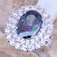 Rainbow Mystic Topaz White Topaz Silver Fashion Jewelry Free Shipping & Gift Bag Women's Big Ring Size 5 / 7 / 8 / 9 E690(China (Mainland))