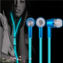 Glow In The Dark Earphones Luminous Night Light Glowing Headset In-Ear Earbuds Stereo Hands free With Mic(China (Mainland))