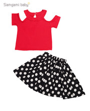 Children Clothing Set Girls Summer Set Kids Suit Red T shirt + Polka Dot Skirt Two Pieces Set for Kids Girls Clothes Girl Set