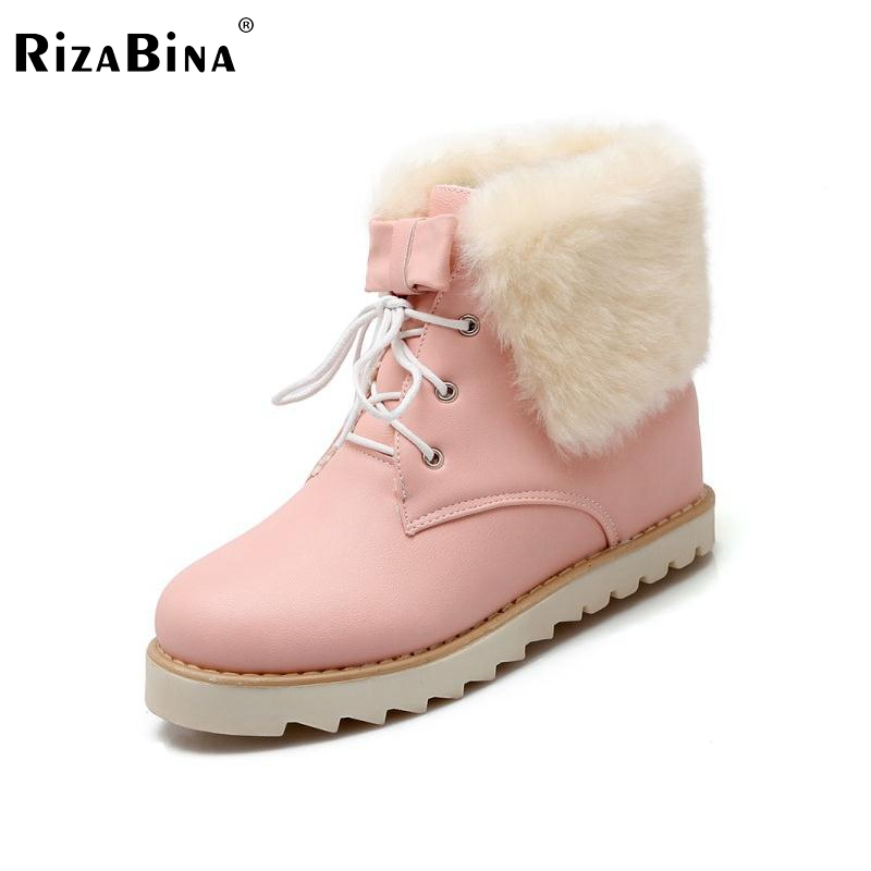 RizaBina Woman Lace Ankle Boots Sweet Ladies Thickened Plush Warm Winter Boot Round Toe Footwear Shoes Woman Size 34-39