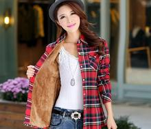 Tops Blusa Camisa Femininas Autumn winter warm cotton long-sleeved thick velvet women's plaid shirt  flannel  office shirts (China (Mainland))