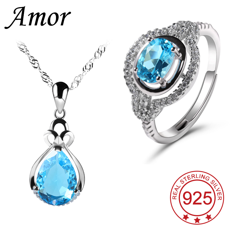 Fashion Platinum Plated Jewelry Sets Women Blue Sapphire Necklace & Ring 925 Sterling Silver Bridal Party