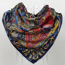 New Arrival 2015 Women Dark Blue 100% Silk Twill Scarf Shawl Spring and Autumn Brand Chain Design Silk Scarves Shawls Printed(China (Mainland))