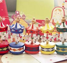 6pcs/lot Christmas/ Mini XMAS tree pendant/ Beautiful wooden carousel Christmas ornaments, Free Shipping(China (Mainland))