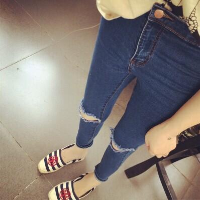 [DK Jeans] New Korean Feet Ripped Women Plus Size ...